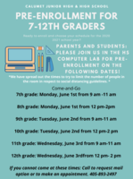 Pre-Enrollment for 7th-12th Grades