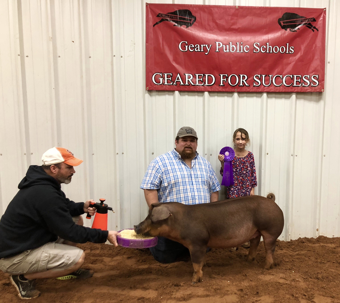 Meghan McCullough won Grand Gilt at the Geary livestock show!