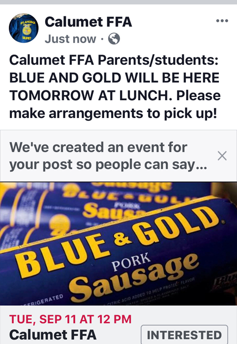 Blue and Gold will be here tomorrow at noon