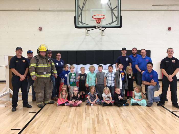 Learning about fire safety!  Thanks to El Reno and Calumet FD!