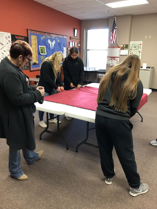 "FFA is making ""Blankets for Freedom"" for the VA hospital with Mrs. Lee guidance"