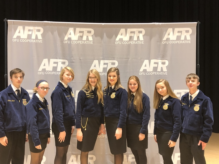 Calumet FFA representing alongside the State FFA Officers at the State AFR speech Contest