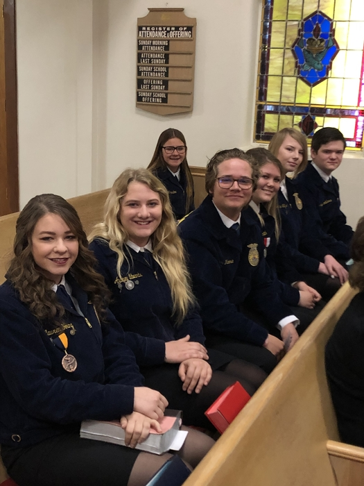 FFA members attended church this morning