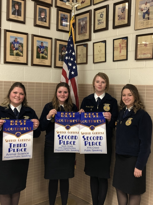 Congrats to these rock stars, Karla was 2nd Creed and 9th Grade FFA Opportunities, Raven was 3rd in Animal Science and 5th Agriscience, Lauren was 5th in Ap Policy, and Justice competed in the Creed. Proud of them. #finishstrong