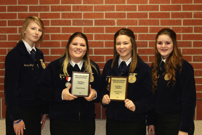 Congrats to these fierce ladies for a great night at the Chickasha Regional Speech Contest.  Lauren Young was 2nd in Ag Policy(advancing to SW Area), Raven Smith was 2nd in Animal Science (advancing to SW Area), Karla Mcconnell was 3rd in 9th Grade FFA Opportunities and 4th FFA Creed and Justice also giving the FFA Creed. These 4 have traveled many miles and worked extremely hard and really put theirselves out there!