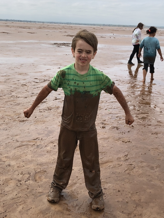 Cale found a mud puddle.