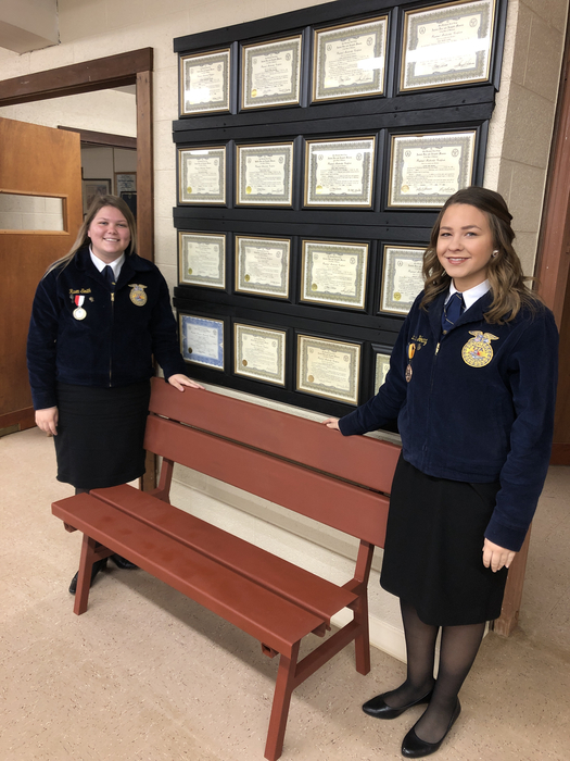 FFA members are selling chances on this bench at the Masons pancake breakfast this morning