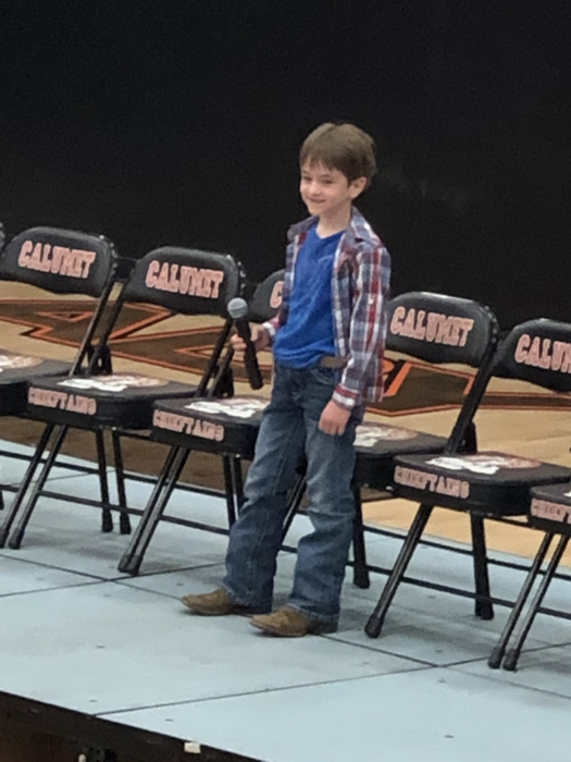 The Winner of the 1st and 2nd grade spelling bee is Cale Chambless!