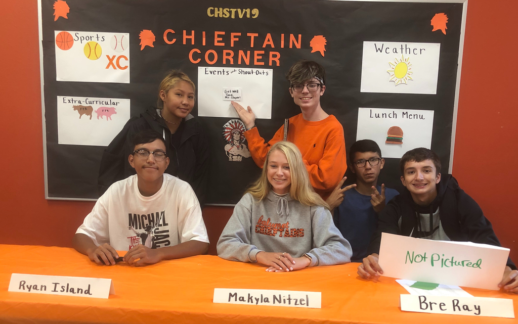 "The crew of CHSTV19 is ready to go live next week, wanted to send a preview of their clip! The sign in the middle is to tell Mr. Cooper ""Best Wishes"" for his upcoming surgery! See you soon."