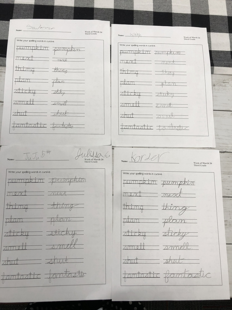 3rd grade's 1st cursive handwriting this year!