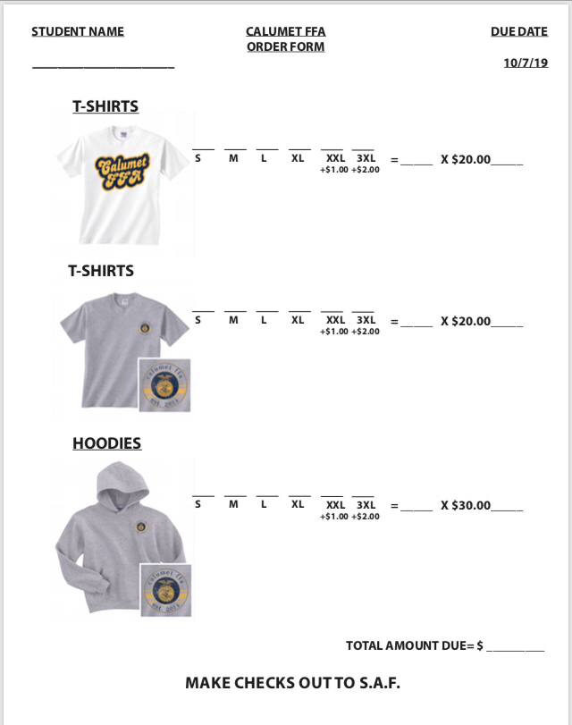 FFA Shirt order forms are available
