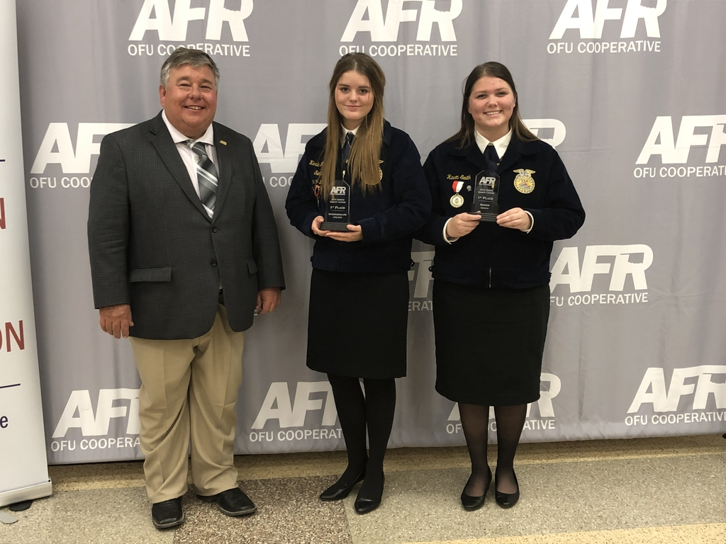 FFA both girls won first place at Cache AFR speech contest